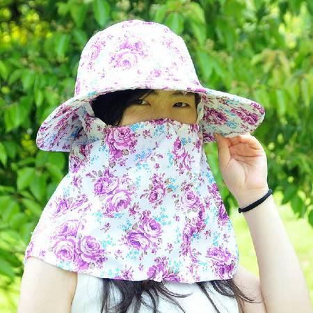 普润 韩版户外防紫夏防紫外线防晒帽女士遮阳帽沙滩帽采茶帽 紫色玫瑰花