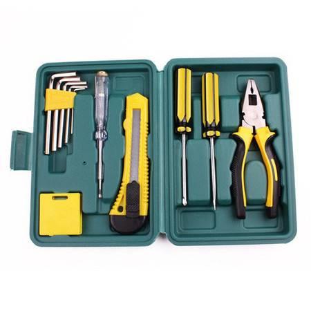 普润 小工具套装 家用便携式五金维修必备工具整理箱12件套