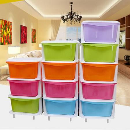 抽屉式收纳柜 塑料儿童卧室储物柜 整理柜子抽屉柜 五层
