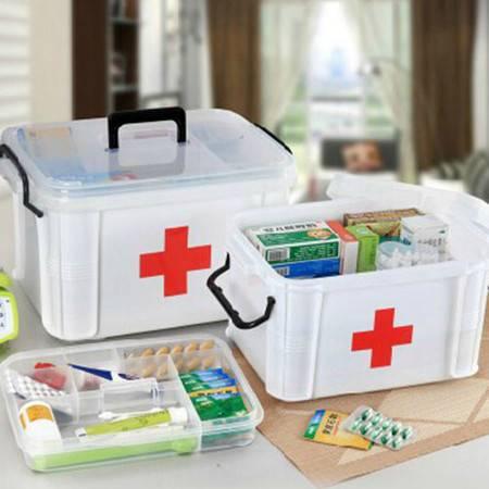 普润 家庭大号药箱多层急救收纳保健箱子家用塑料整理箱收纳箱药箱