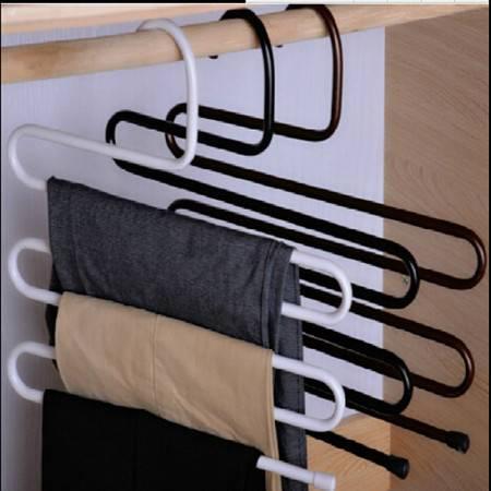 S型多功能铁艺魔术伸缩裤架防滑多层 服装店衣柜裤架 黑色3只装