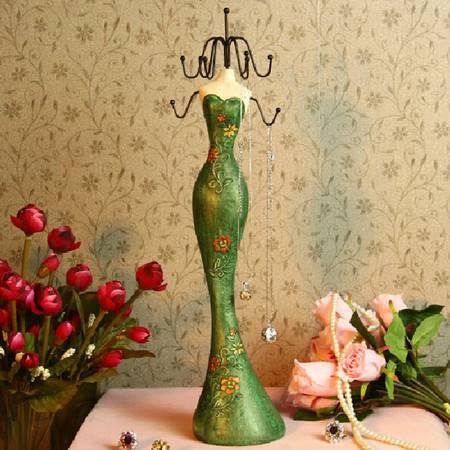 普润 23CM创意模特生日结婚礼品耳环项链架首饰架树脂迷你小家具摆设展示架绿色XQ4302