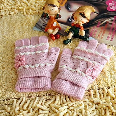 羊毛兔毛 冬季保暖 女士两用手套 颜色随机KE1101