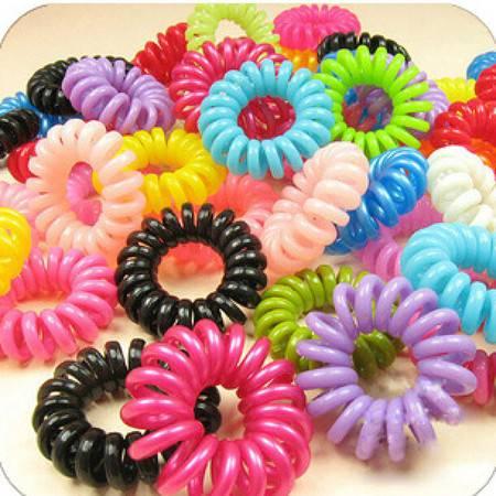 耀点100 糖果色电话线发圈 韩国发绳头绳皮筋50只装颜色随机XP6202