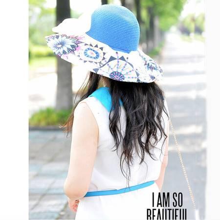 普润 韩版大檐防晒太阳帽蝴蝶结沙滩帽 蓝色XT6203