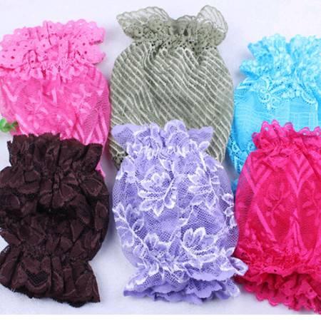 耀点100 蕾丝花边外加网纱双层袖套 韩版糖果色带弹力袖套 颜色随机XS7402