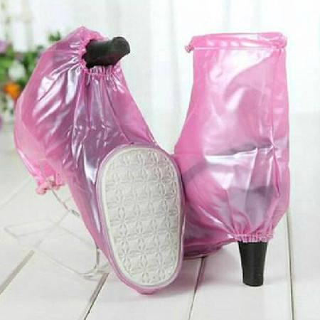 普润 高跟鞋防水鞋套 雨鞋 粉色 L码XP7302