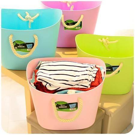 寝室神器大号软塑料棉绳脏衣篮时尚收纳篮衣服储物筐脏衣桶 粉色VB2302