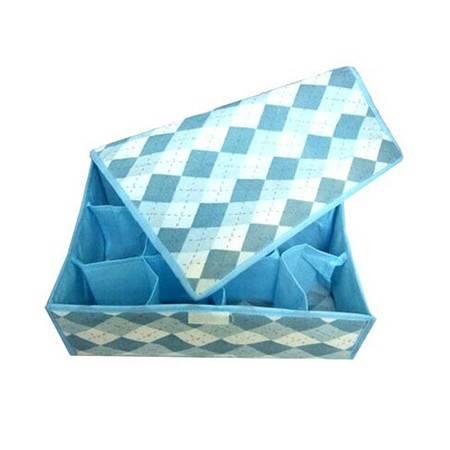 普润 12格蓝色格子软盖收纳盒 收纳箱XQ5201