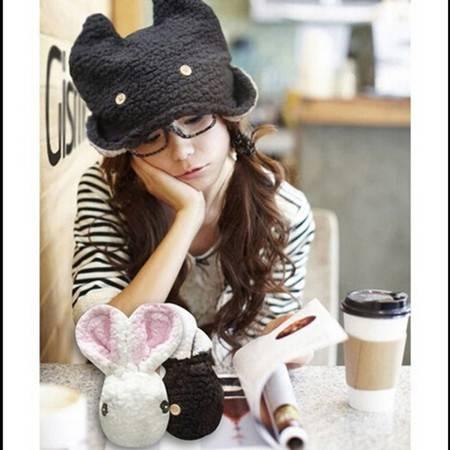 耀点100 可爱卡通 潮人兔子兔兔帽子 毛绒保暖帽 粉色XK5301