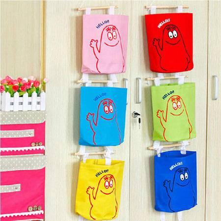 耀点100 五彩挂袋 2只可爱多层墙上门后收纳挂袋 挂式收纳袋壁挂储物袋置物袋 颜色随机XU4202