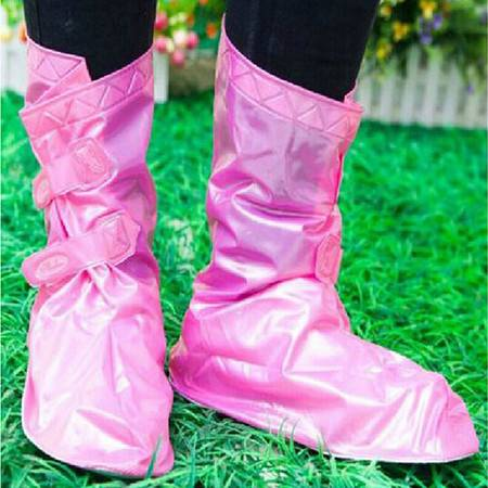 普润 可调节防雨鞋套 雨鞋 粉色S码
