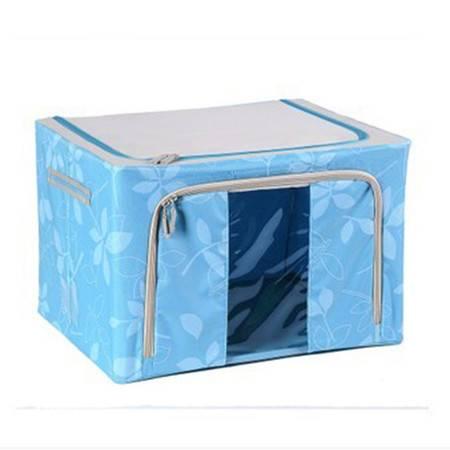 普润 80L红色 牛津布钢架百纳箱 整理收纳箱 蓝色树叶 单视 双开门