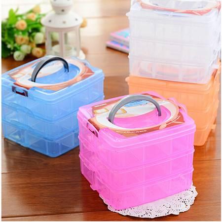 小号标本盒化妆盒 儿童首饰箱整理盒纽扣分类盒塑料透明 3层18格 颜色随机XD2201