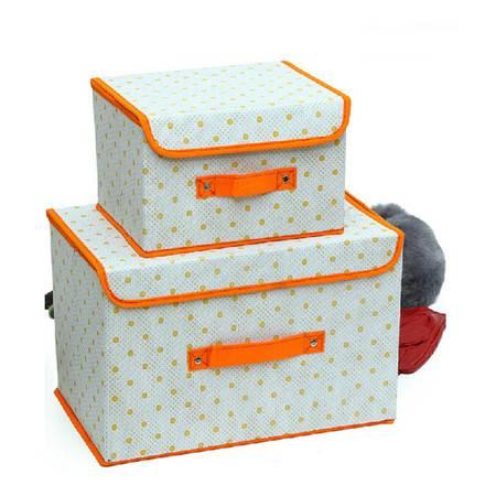 友纳 点子纹收纳整理箱多功能可折叠收纳箱收纳盒(小号)橘色KB4402