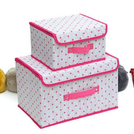 友纳 点子纹收纳整理箱多功能可折叠收纳箱收纳盒(小号)玫红色KC7401