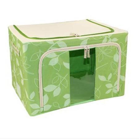 普润 44L绿色 牛津布钢架百纳箱 整理收纳箱 绿色树叶 单视 双开门KB6301