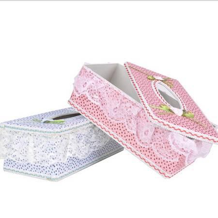 文博新品 田园蕾丝欧式创意纸巾盒 车用家用可爱纸巾盒2个装 颜色随机发KB3101