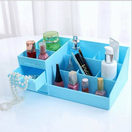 全新塑料 带抽屉 桌面化妆品收纳盒 蓝色BM018