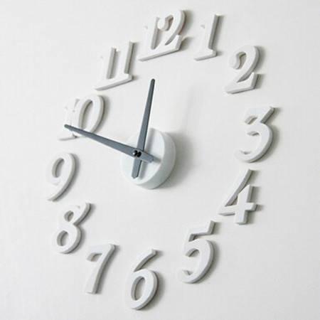 普润 创意DIY挂钟 数字挂钟 数字挂钟壁钟 白色