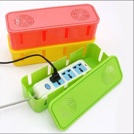 散热电源线插座收纳盒集线盒电线整理盒散热盒精致彩盒 颜色随机BM020