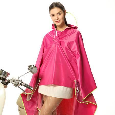 头盔式电动车雨衣摩托车电动车雨衣单人时尚韩国透明大帽檐加厚雨披