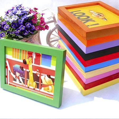 普润 木质礼品相框 平板实木相框 照片墙 6寸挂墙蓝色