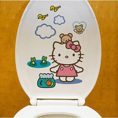 马桶贴墙贴可爱创意卡通人物防水自粘马桶贴 颜色随机2张