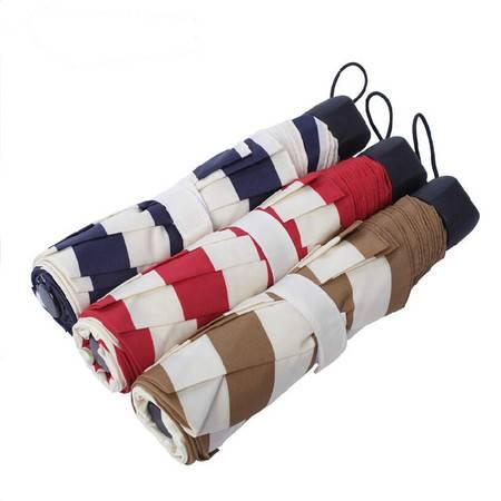 简约小清新海军风条纹创意三折叠伞晴雨伞太阳伞礼品伞 米色