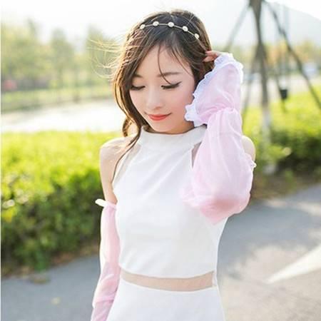 夏季雪纺蕾丝素色防晒袖套手套 简约长款遮阳防紫外线 粉色XG5301