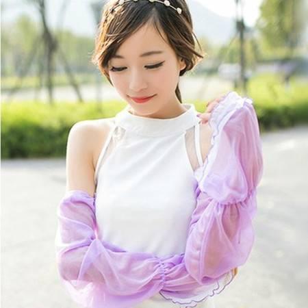 夏季雪纺蕾丝素色防晒袖套手套 简约长款遮阳防紫外线 紫色XF4207