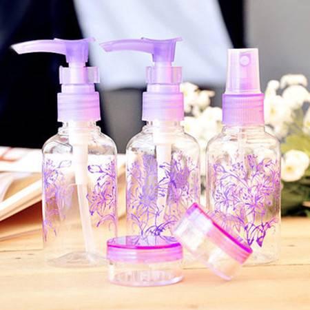 旅游外出用品 洗漱包化妆品分装瓶 香水真空瓶 喷瓶五件套装 紫色XF3102