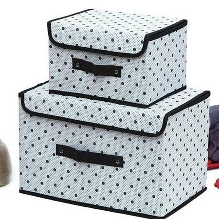 友纳 点子纹收纳整理箱多功能可折叠收纳箱收纳盒(黑色大号)