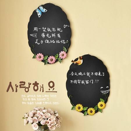 田园风格 铁艺花朵+小鸟 壁挂黑板 留言板 服装店咖啡厅陈列道具