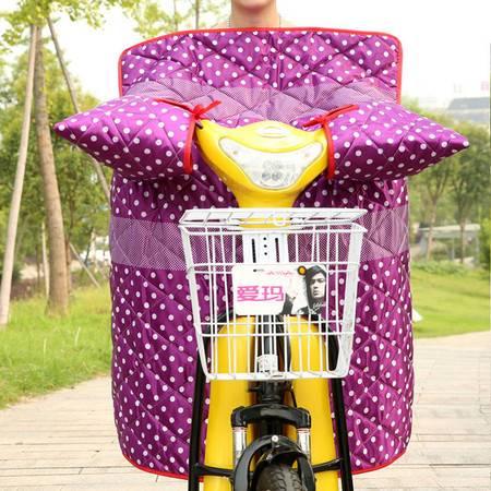 耀点100 电动车连体挡风被摩托车挡风罩双面防水一体式护膝被 紫色白波点