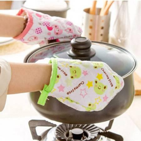 普润 1双装 卡通动物微波炉隔热手套厨房防烫手套 颜色图案随机