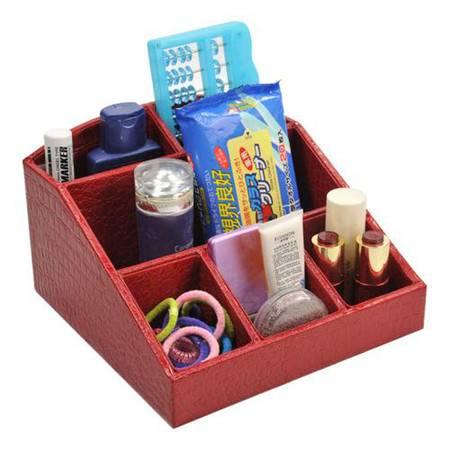 开馨宝 鳄鱼纹化妆品收纳盒/桌面收纳整理盒-大红色