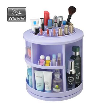 双庆 新品桌面化妆品收纳盒塑料化妆品收纳盒360度旋转 颜色随机SQ-1079