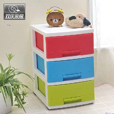 双庆家居三层塑料收纳柜置物架塑料抽屉置物架卧室收纳抽屉式收纳 1076
