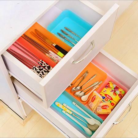 炫彩抽屉多用整理盒 创意餐具收纳盒杂物小物储存盒 中号蓝色