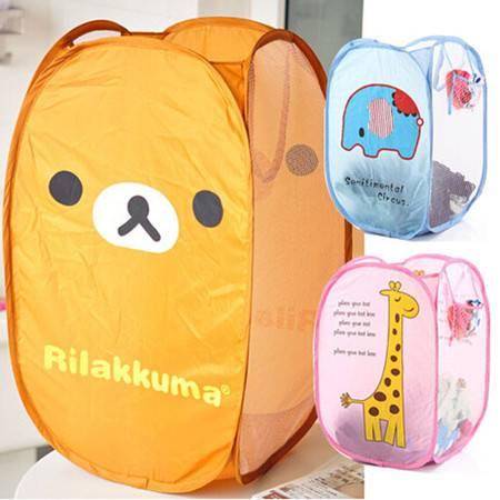 日式折叠彩网脏衣篮 晒衣篮大号衣物收纳篮脏衣袋 粉熊