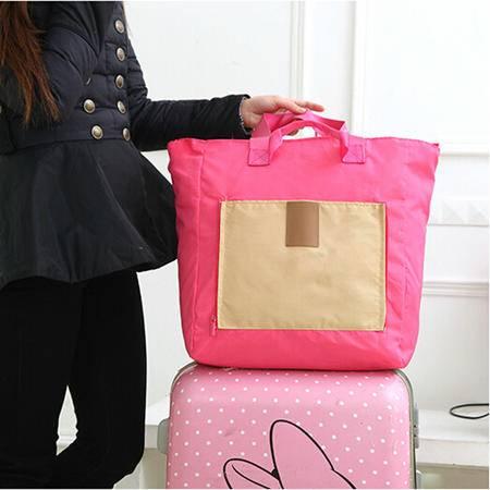 韩国多功能折叠购物袋便携旅行收纳包大容量单肩手提包防水包 颜色随机