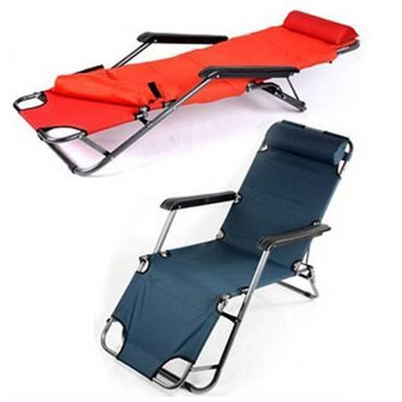 普润 153CM躺椅 折叠午休 午睡沙滩床休闲 办公室睡椅子 红色