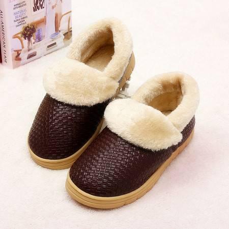 编织纹翻口防滑毛绒PU皮棉鞋 保暖棉拖鞋 暖脚保温鞋 咖啡色46-47 KL7201