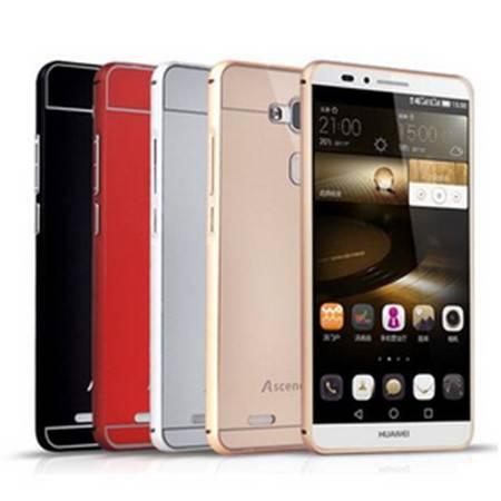 华为mate7手机壳 mt7手机套 金属边框带后盖外壳 保护套 保护壳(边框后盖-优雅银)