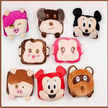 毛绒小熊双插手热水袋/电暖袋--粉色图案随机(未注水)