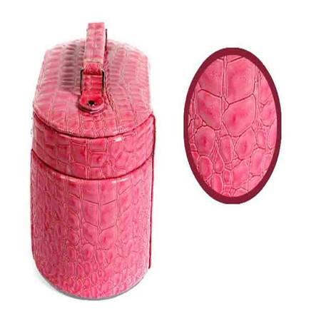 开馨宝欧式经典八角三层首饰盒/饰品收纳盒-玫红色鳄鱼纹(K8525-2)