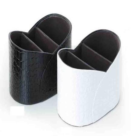 开馨宝三大分格遥控器收纳盒/杂物收纳盒-黑色鳄鱼纹(K8500-1)