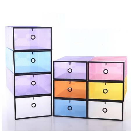 星空夏日 鞋柜式透明鞋盒 塑料水晶收纳盒 白色黑框