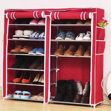 普润 双排七层鞋架 钢管鞋架 简易鞋架 防尘换鞋架 酒红色